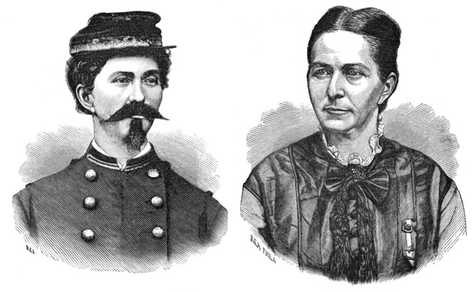 Loreta Janeta Velázquez as herself (right) and disguised as Lieutenant Harry T. Buford (left)