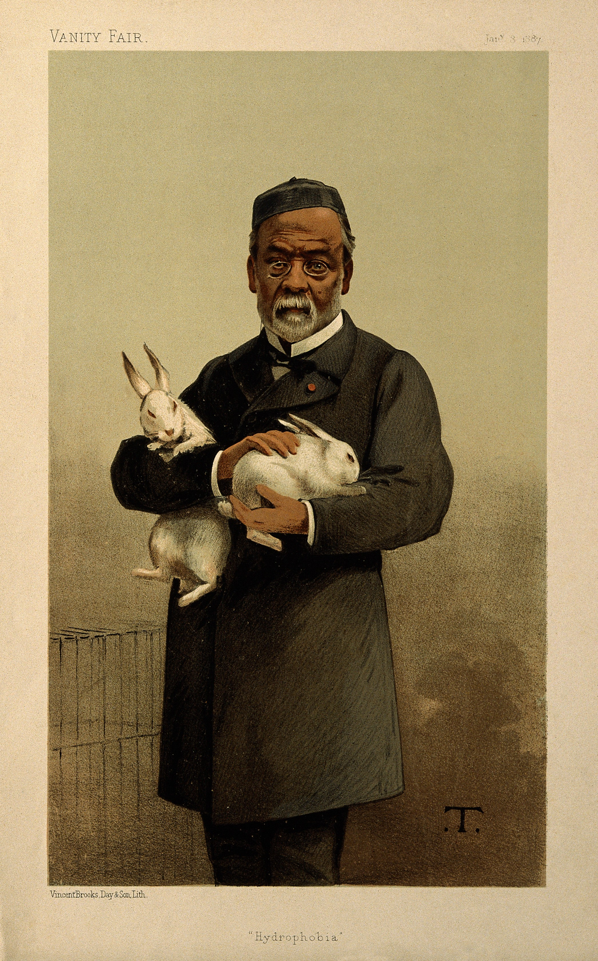 Louis Pasteur C With Two White Rabbits In His Arms Colour Li Wellcome V