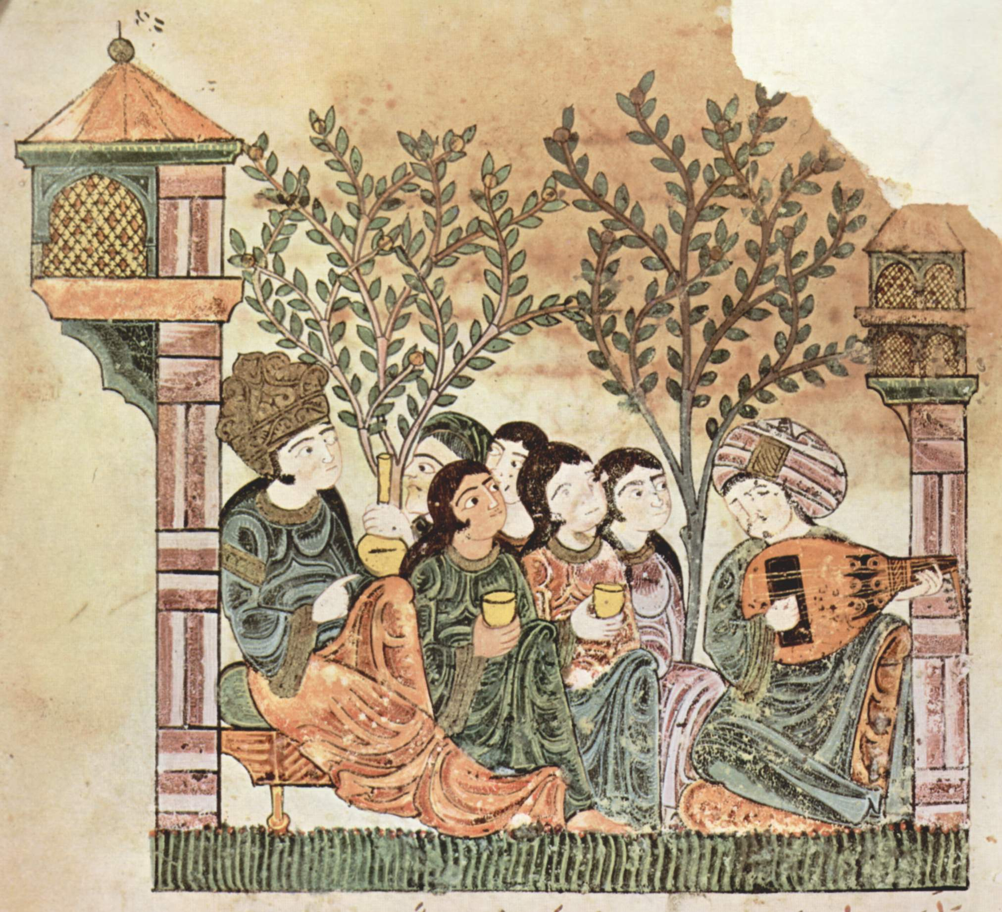 Noblewoman and ladies listen to music in a garden, 13th century
