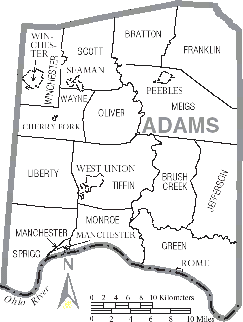 Union Ohio Map.File Map Of Adams County Ohio With Municipal And Township Labels Png