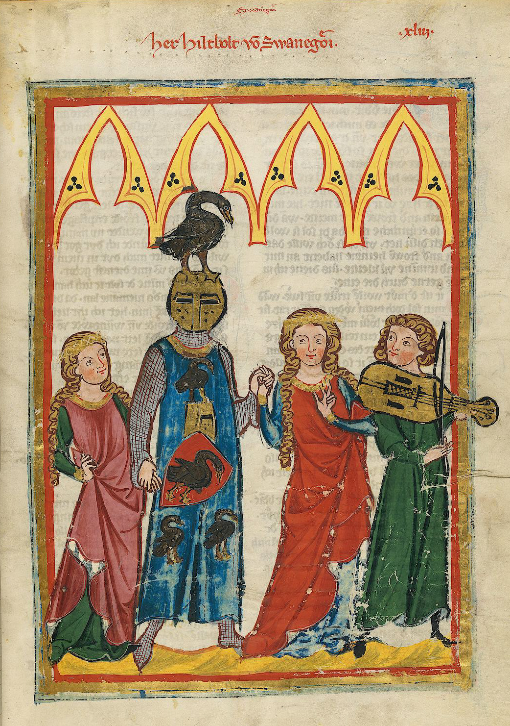 manuscript image: two women have loose waist-length hair