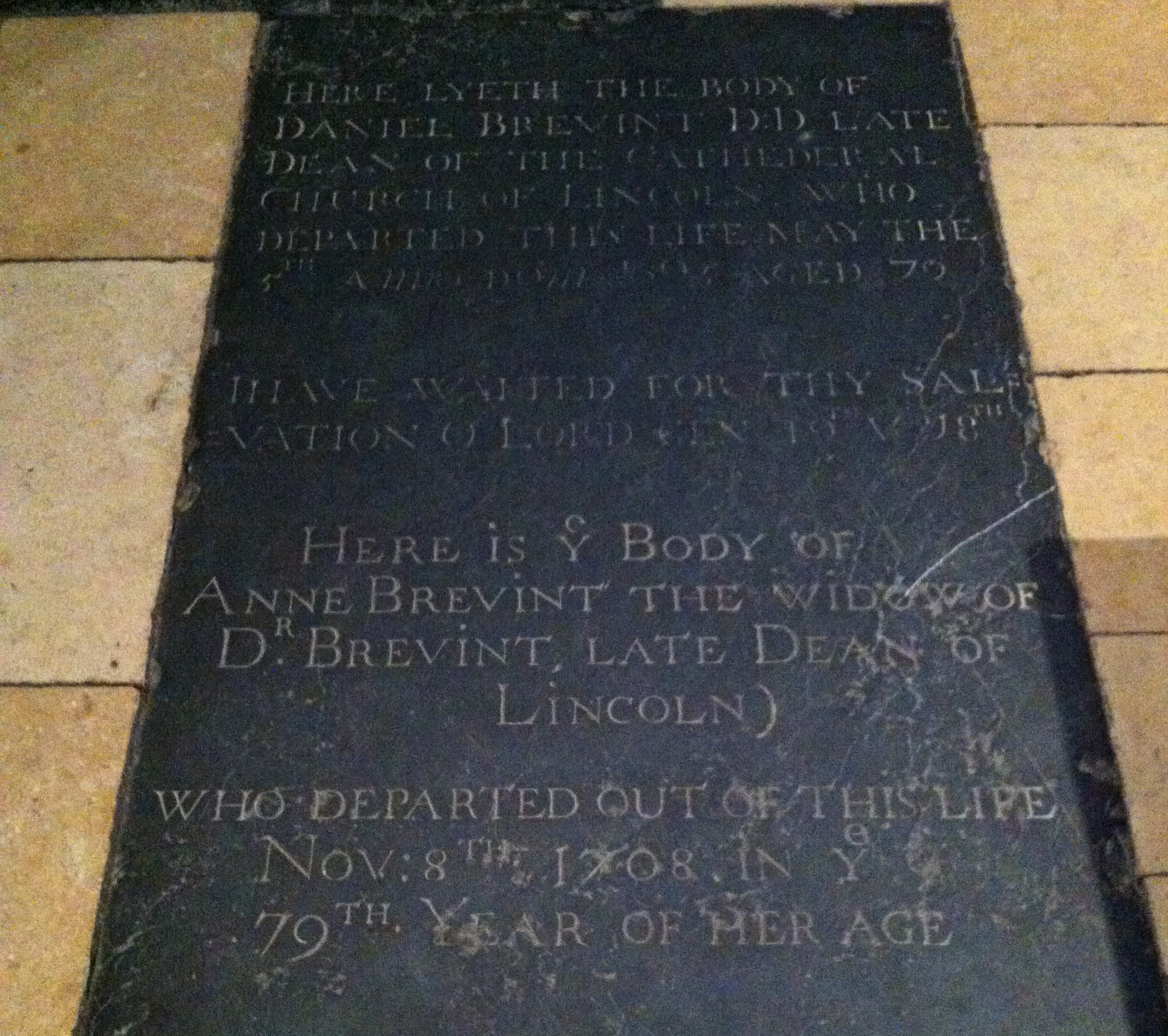 Memorial to Daniel Brevint in [[Lincoln Cathedral