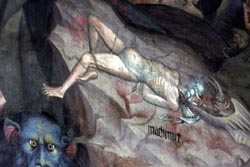 An early Renaissance fresco depicting Mohammed being tortured in Hell. In 2002, Islamic extremists plotted to blow up the church in order to destroy the image.