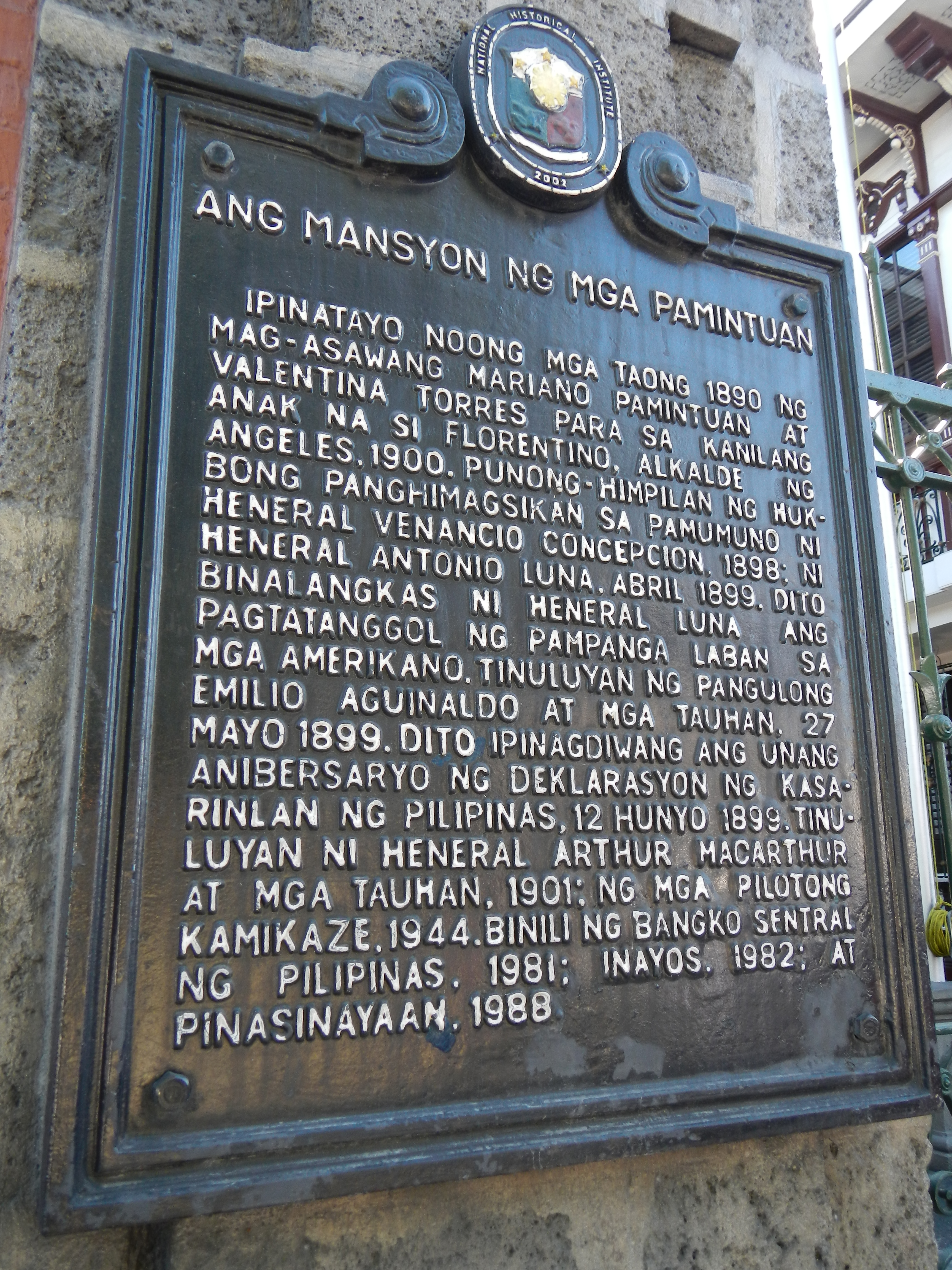 FilePamintuan Mansion Historical Marker Filipino Angeles Cityjpg Wikimedia Commons