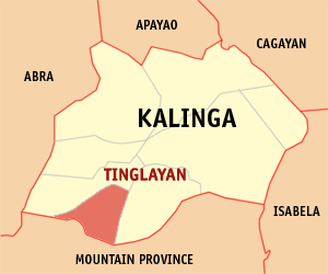 Map of Kalinga showing the location of Tinglayan