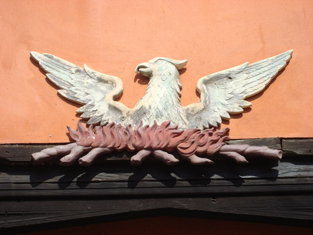 File:Phoenix, detail on one of the buildings on Lavenham High Street - geograph.org.uk - 823128.jpg
