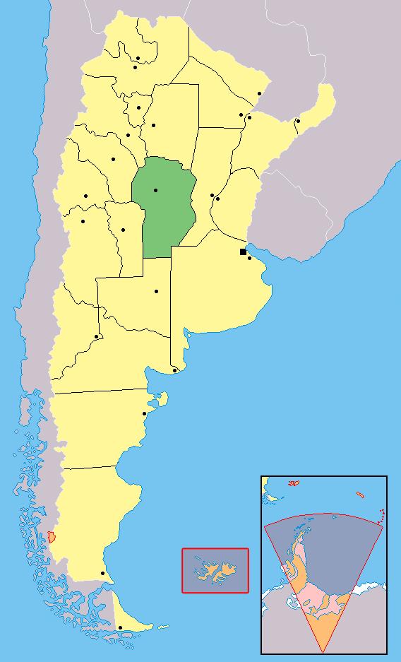 La provincia de Córdoba, en el medio de Argentina. La serrana ciudad de Alta Gracia está 40km al suroeste de la capital, Córdoba.