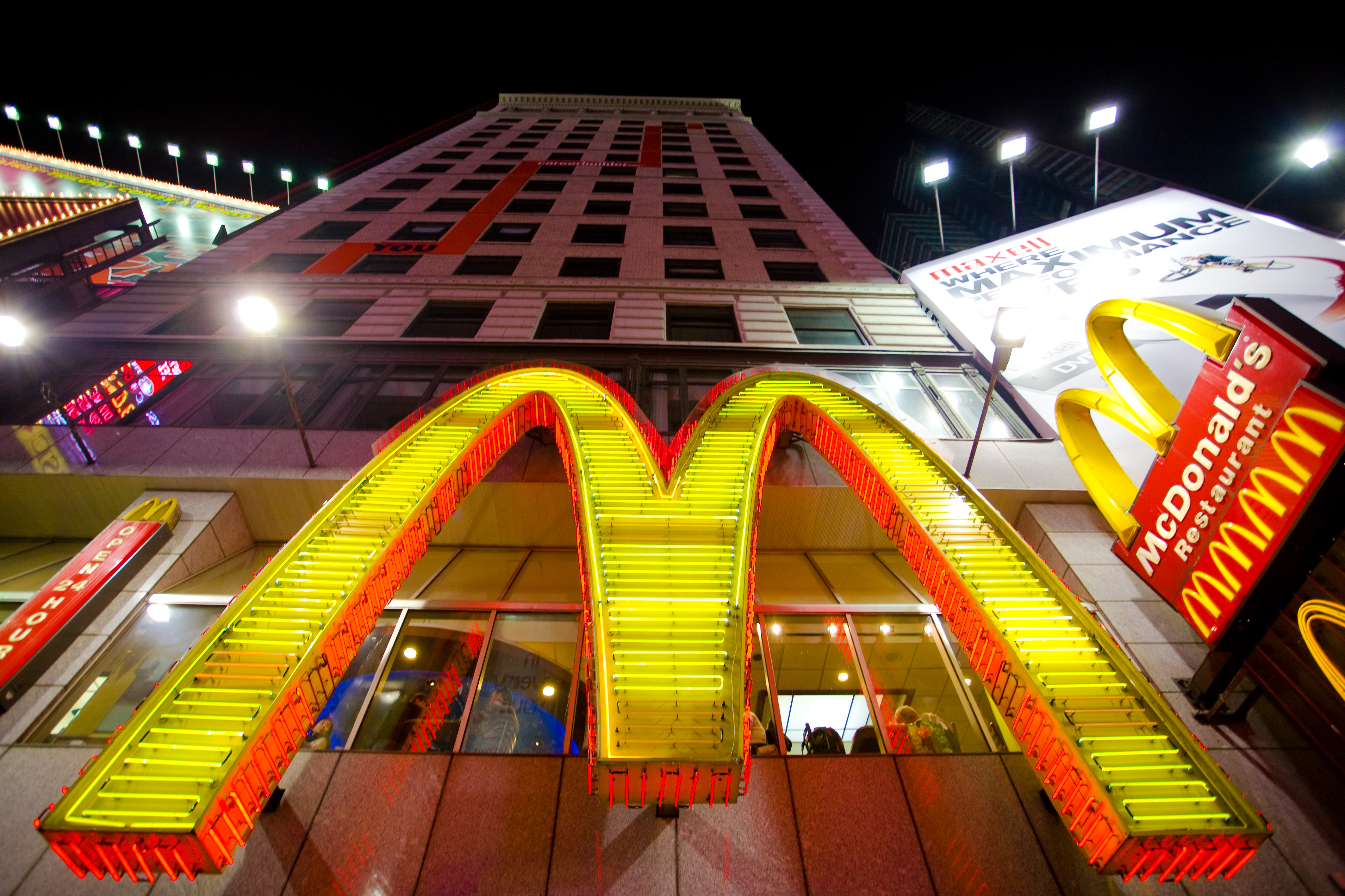 Golden arches lit up on building