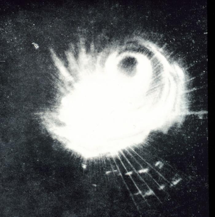アメリカ海軍がレーダーで観測したコブラ台風の画像(1944年12月18日)