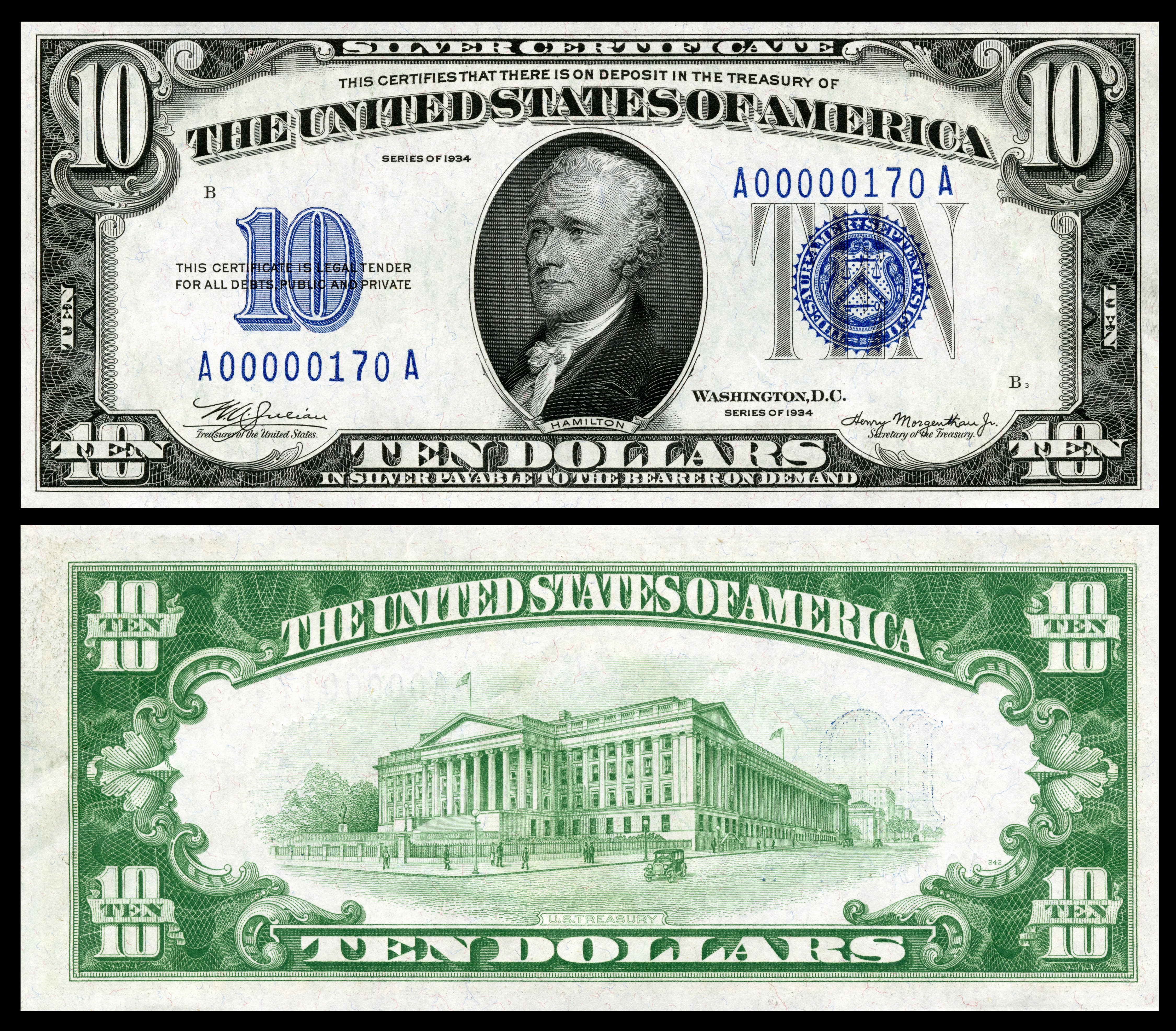Silver certificate united states wikipedia 10 silver certificate series 1934 fr1701 depicting alexander hamilton xflitez Choice Image