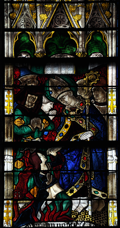 Den hellige Taurinus, glassmaleri fra rundt 1450 i koret i kirken Saint-Taurin i Évreux