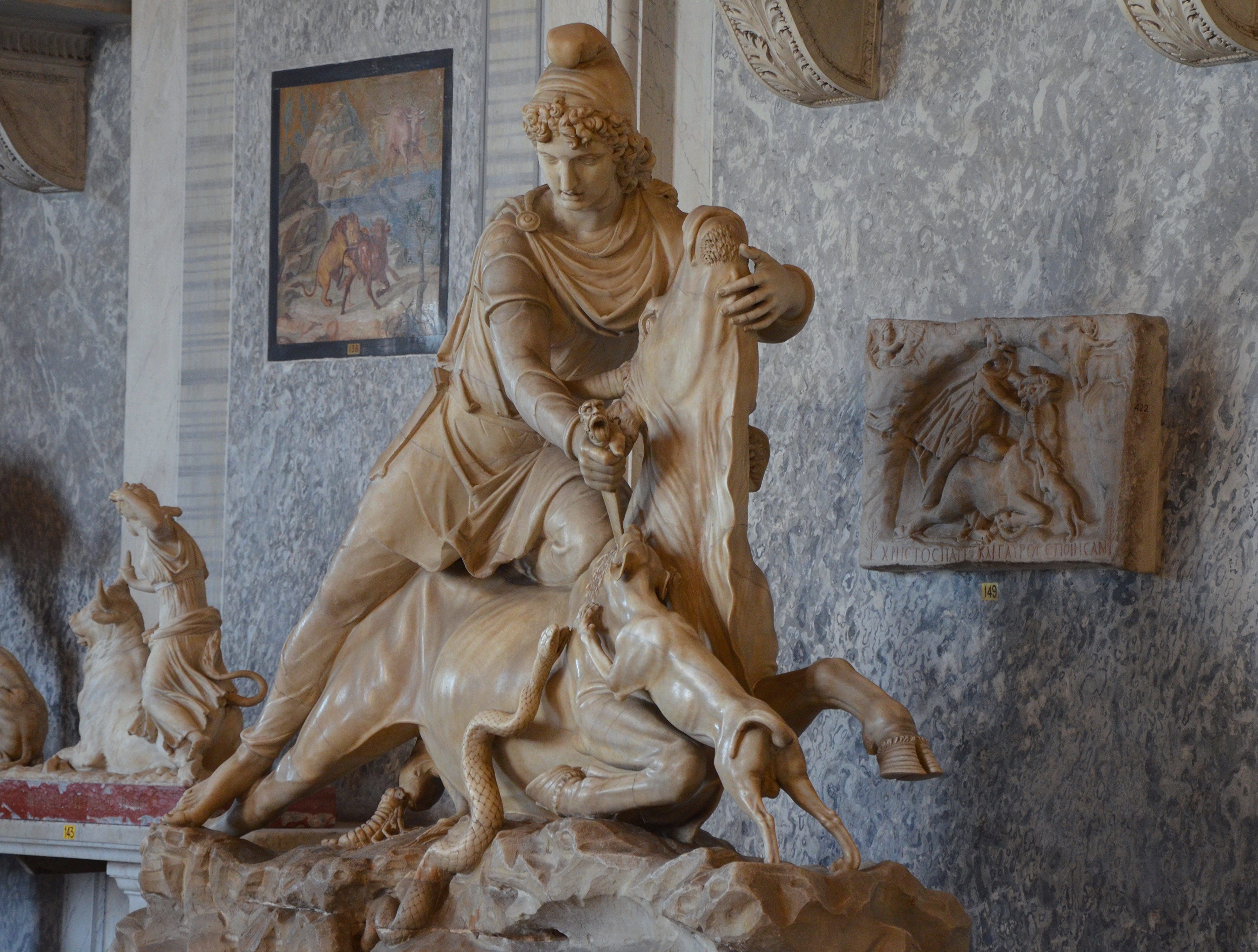 File White Marble Statue Depicting The Tauroctony Cimrm