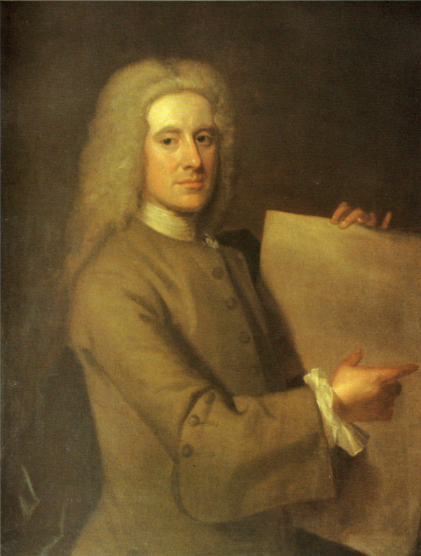 a painting of a man from the 1700s holding up a large sheet of paper