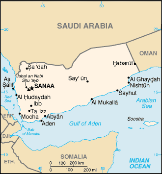 An enlargeable basic map of Yemen