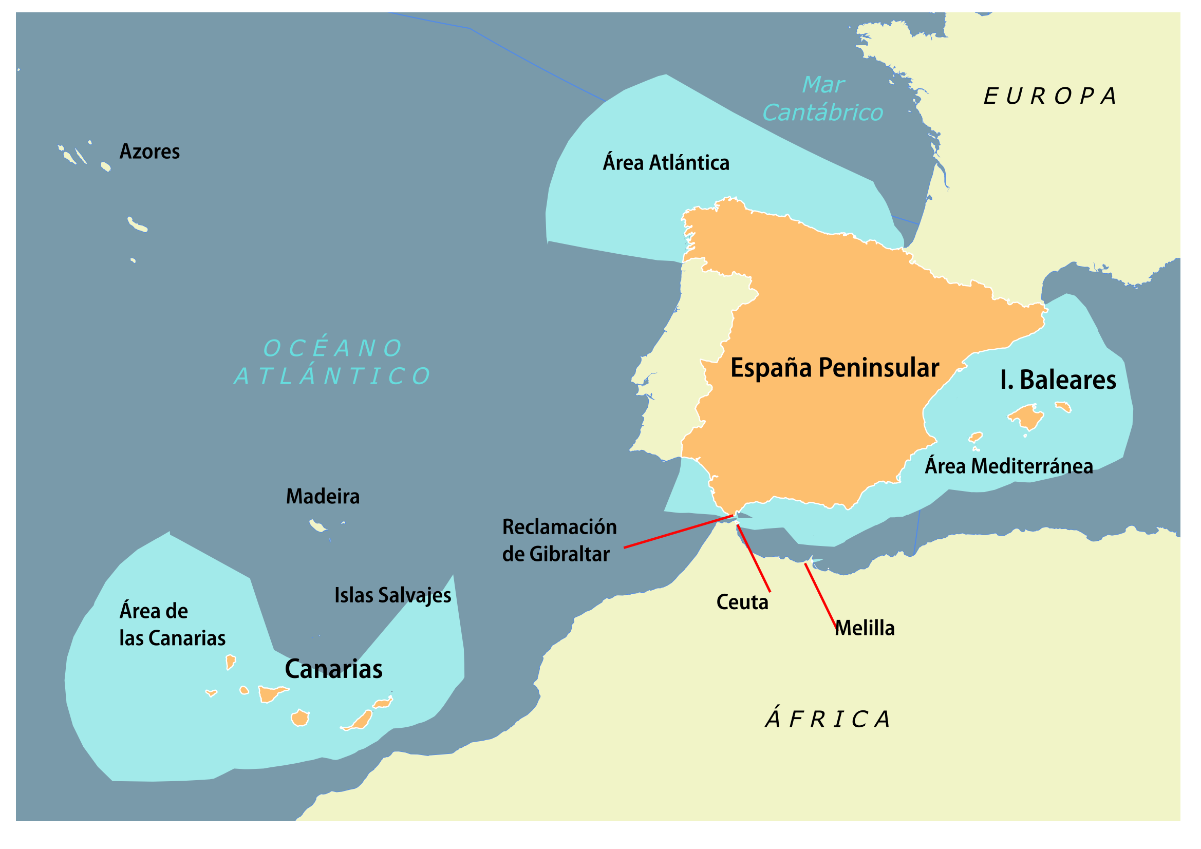 Aguas Territoriales Españolas Mapa.Zona Economica Exclusiva De Espana Wikipedia La