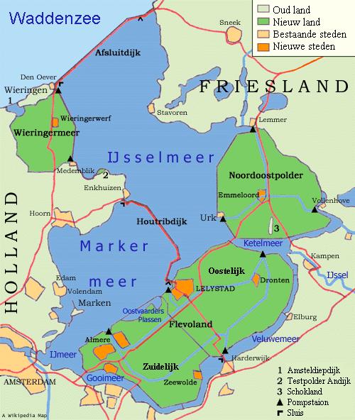 Mapa de la región del IJsselmeer y el Markermeer