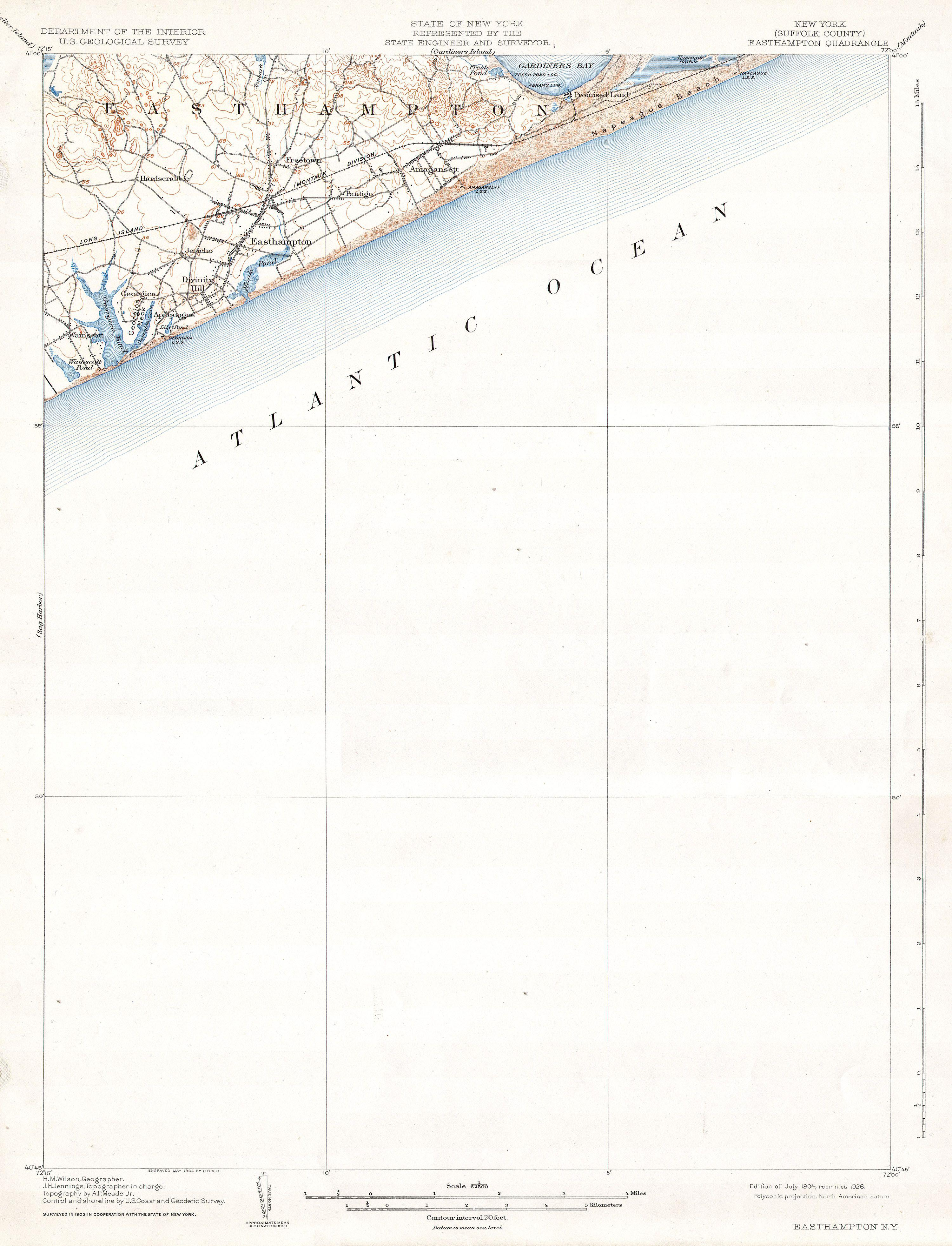 File1904 USGS Map of Easthampton Long Island New York