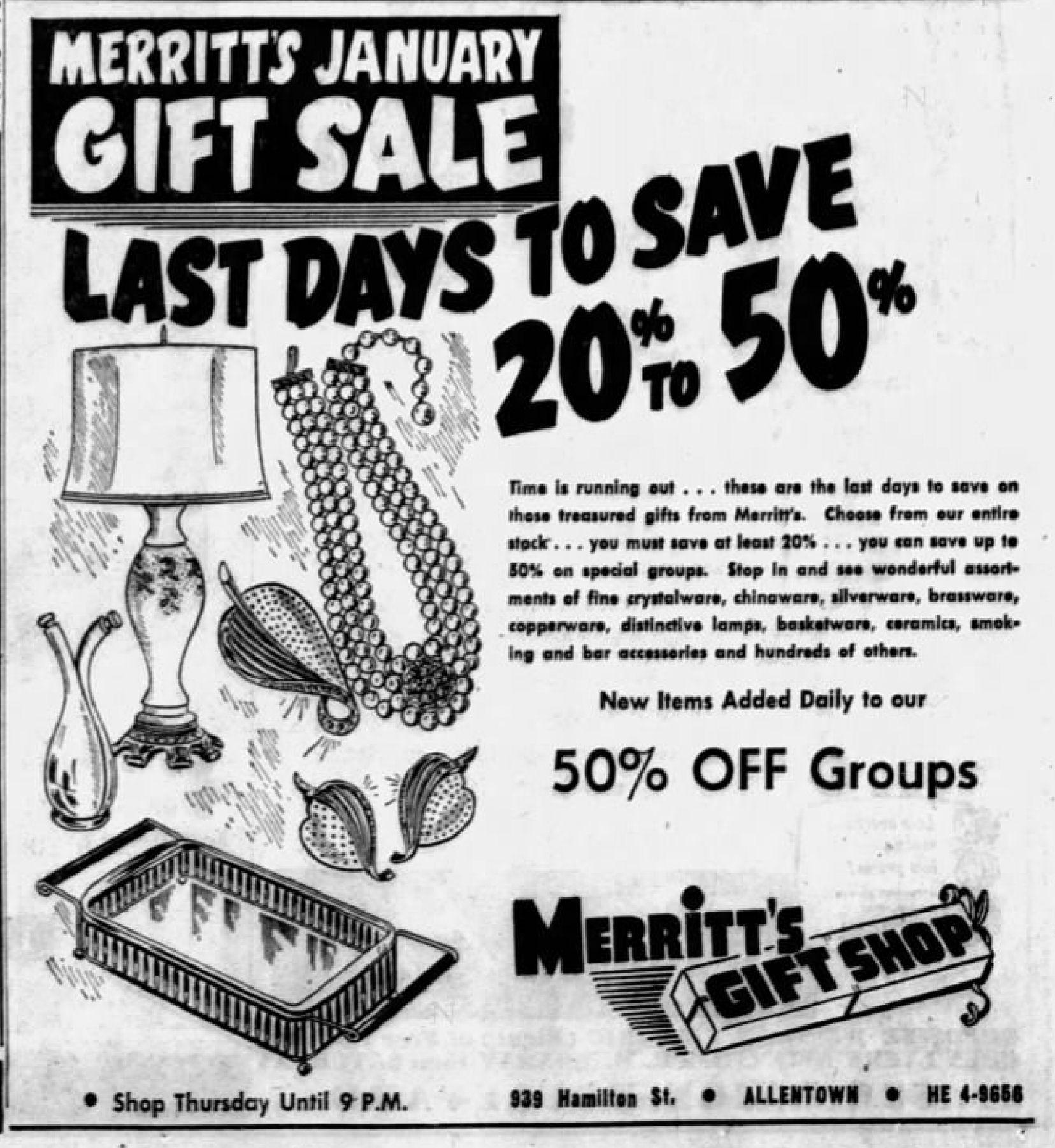 File1957 Merritts Gift Shop 24 Jan Mc Allentown Pa