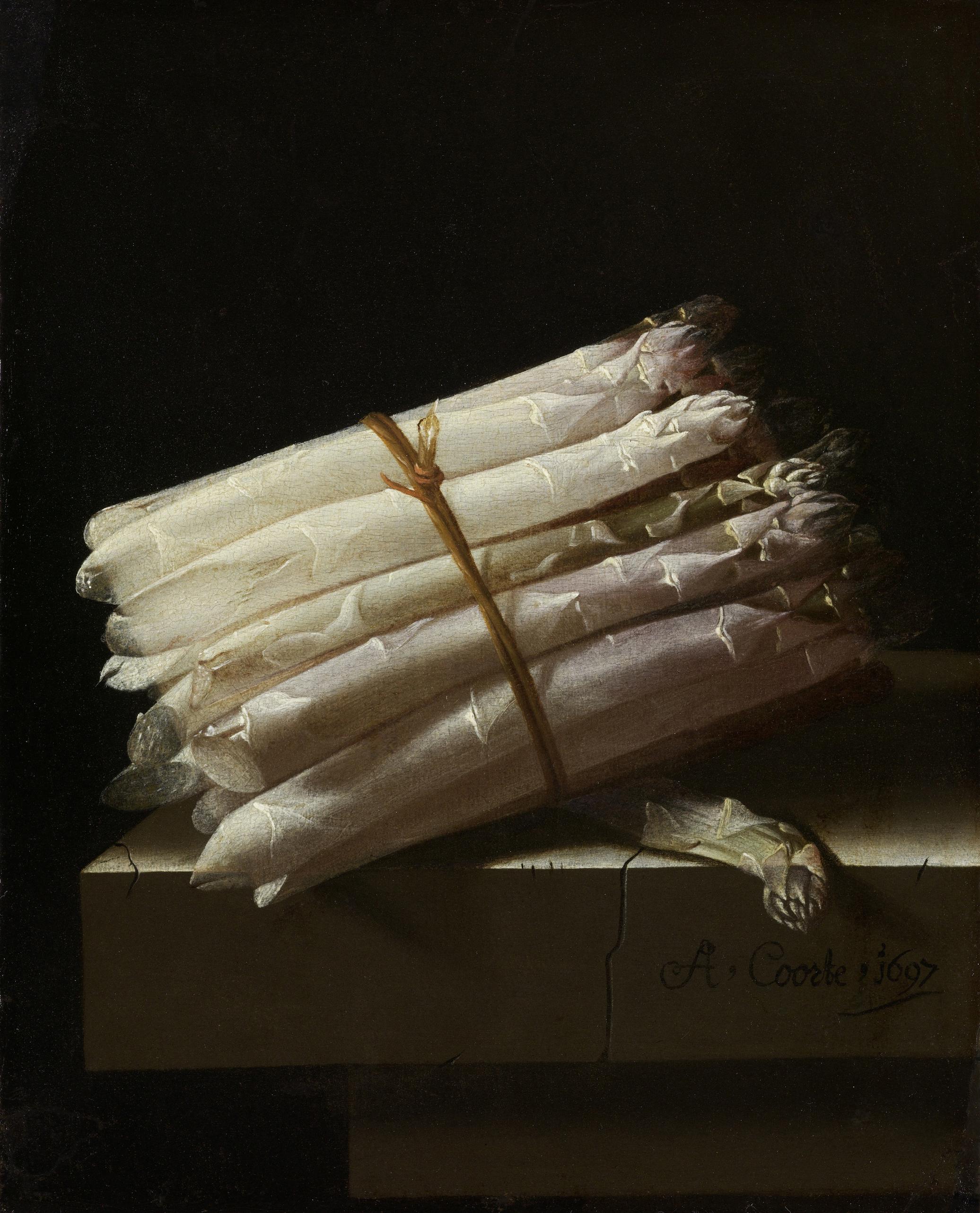 Adriaen Coorte, Still Life with Asparagus, 1697, Rijksmuseum, Amsterdam, Netherlands.