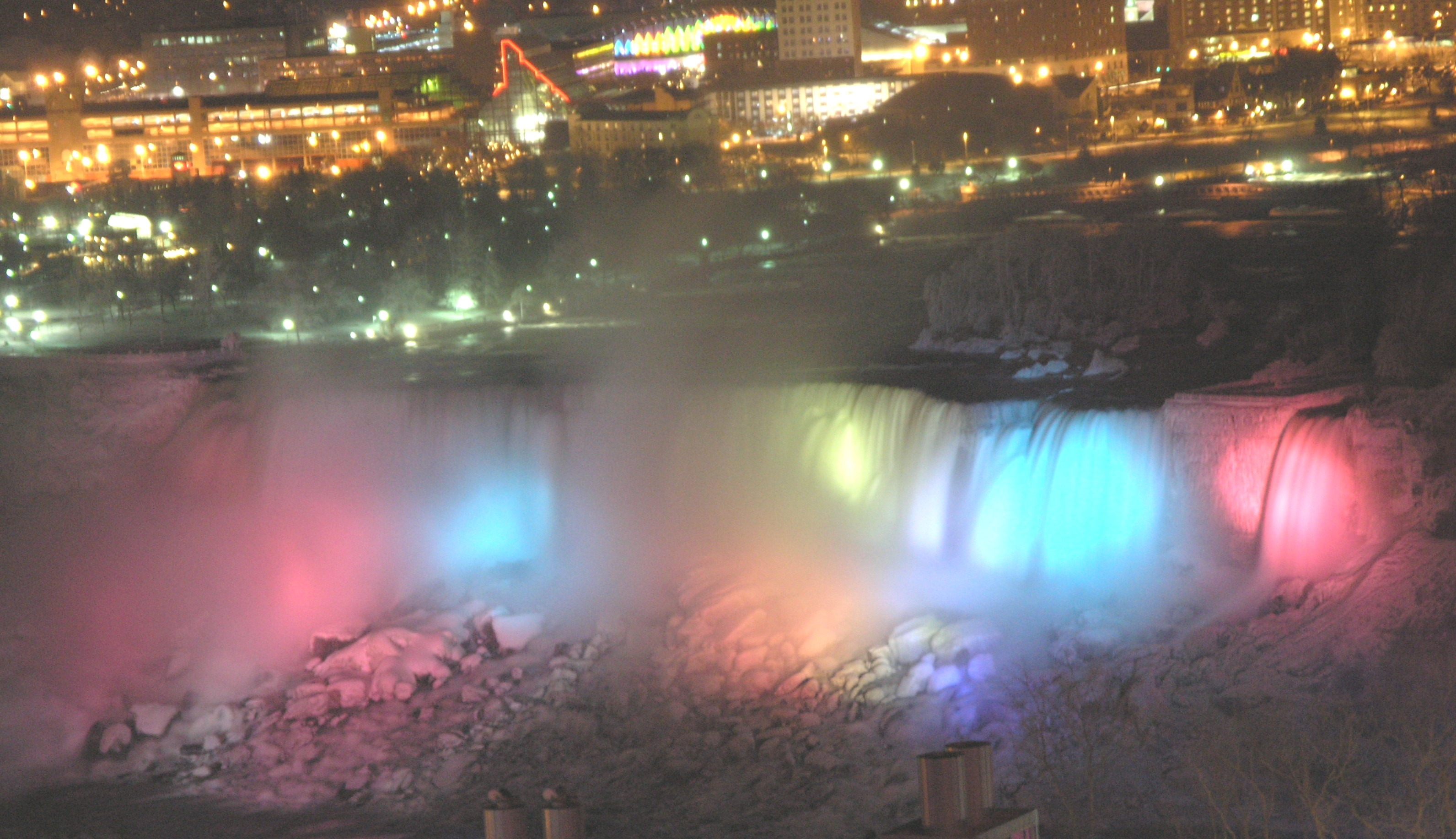 File American Falls In Winter At Night With Multicolor Lighting Jpg Wikimedia Commons