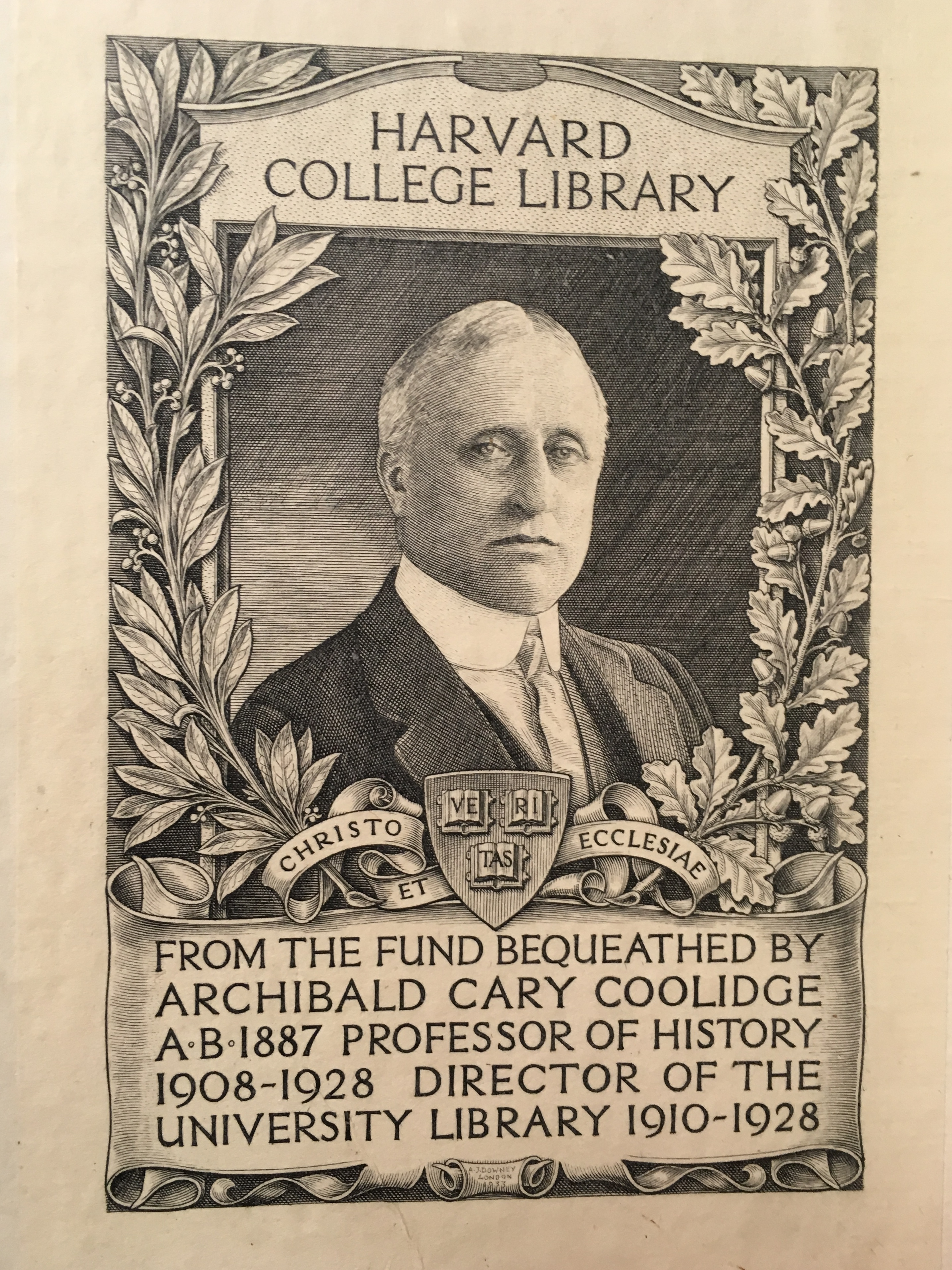 Archibald Cary Coolidge on a bookplate