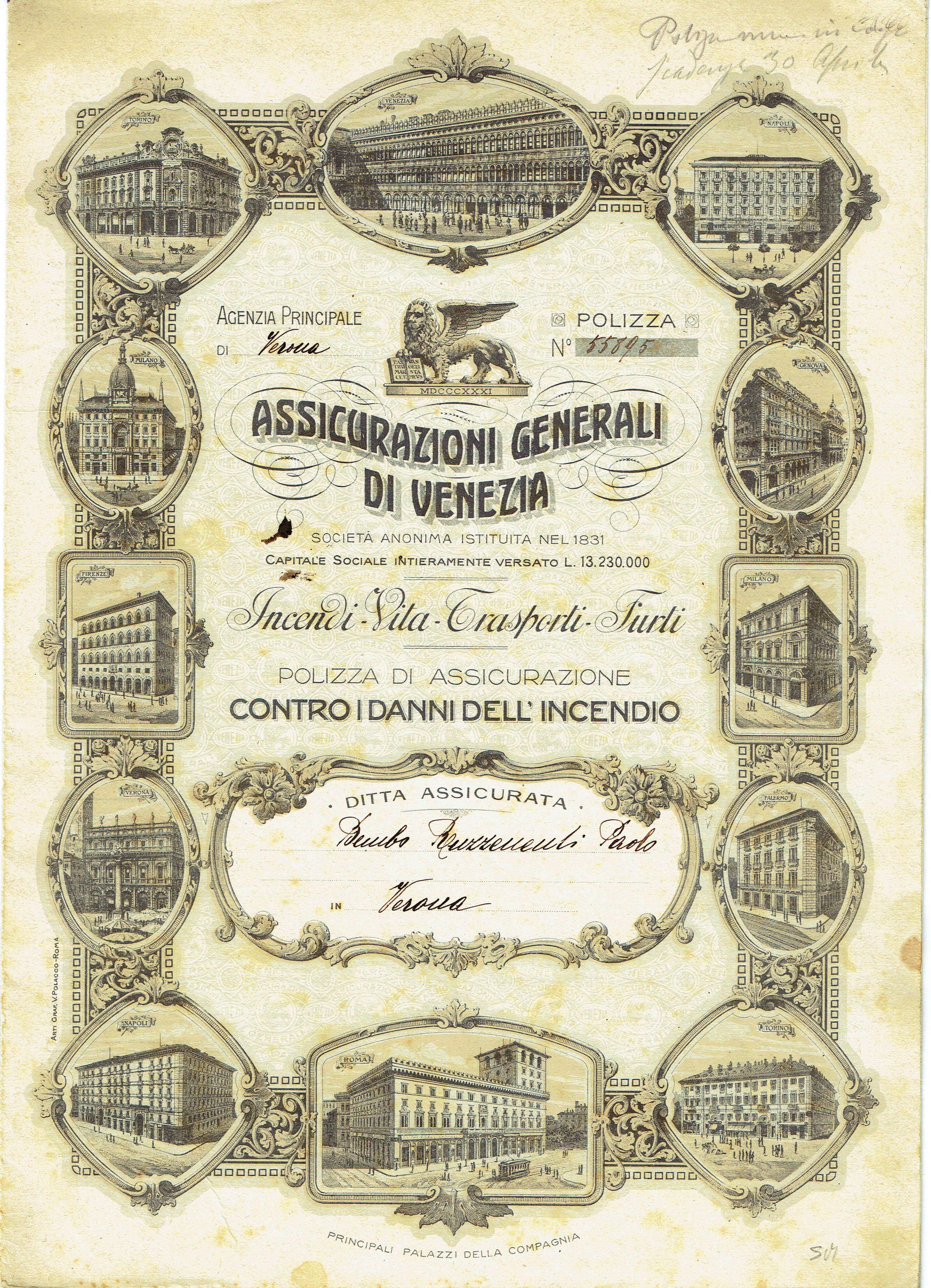 Assicurazioni Generali 1919
