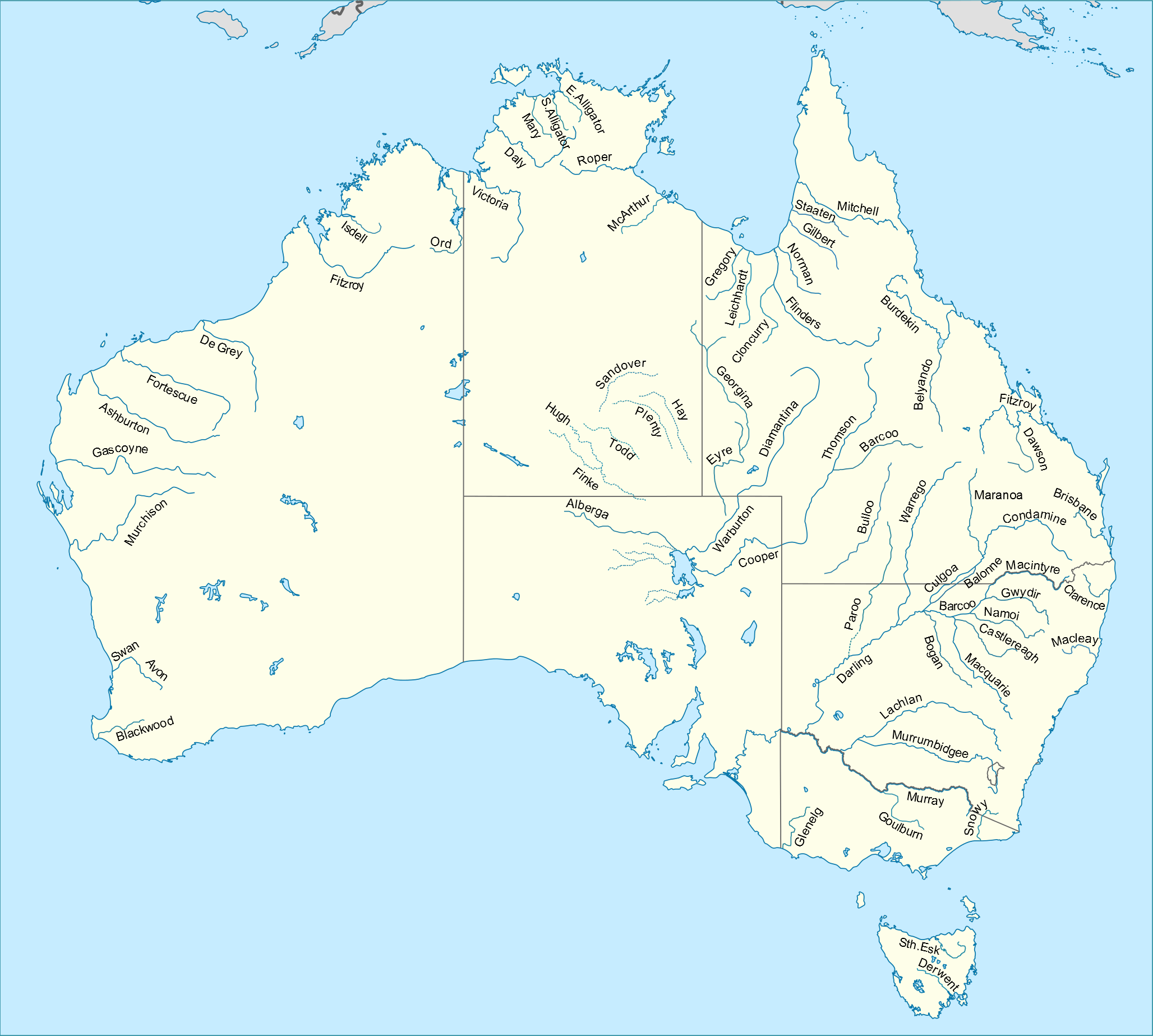 Map Of Australia Labelled.File Australian Rivers With Names Png Wikimedia Commons