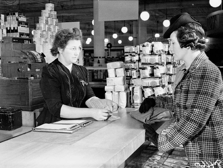 Buying food at Eaton's using ration coupons