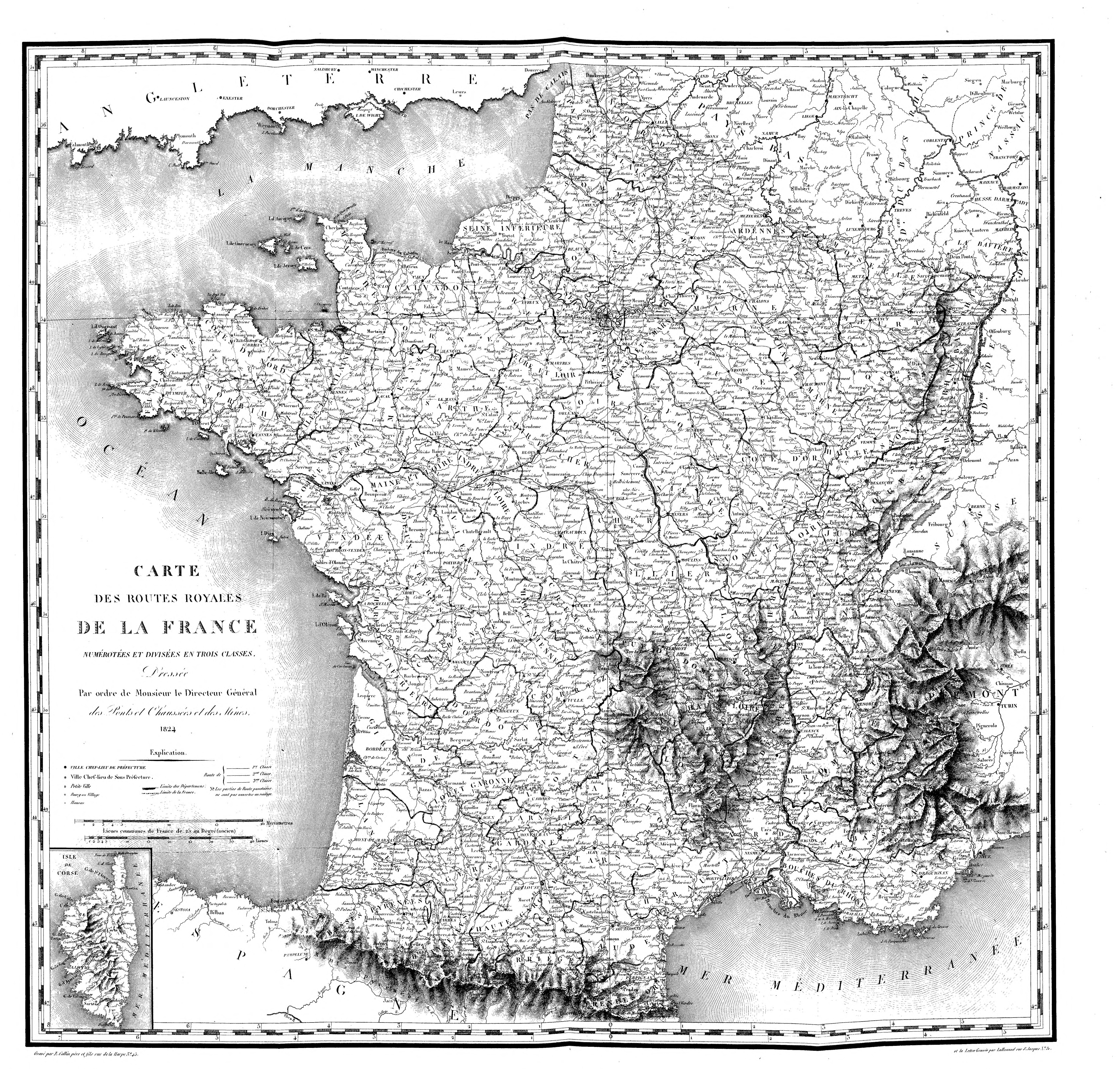 carte de france route File:Carte des routes royales de la France   1824.   Wikimedia