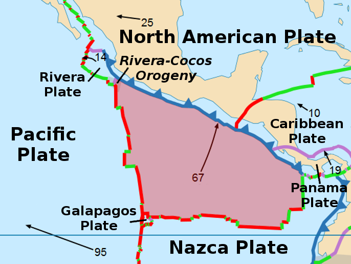 tectonics in middle america The rivera plate is a small tectonic plate (a microplate) located off the west coast of mexico, just south of the baja california peninsulait is bounded on the northwest by the east pacific.