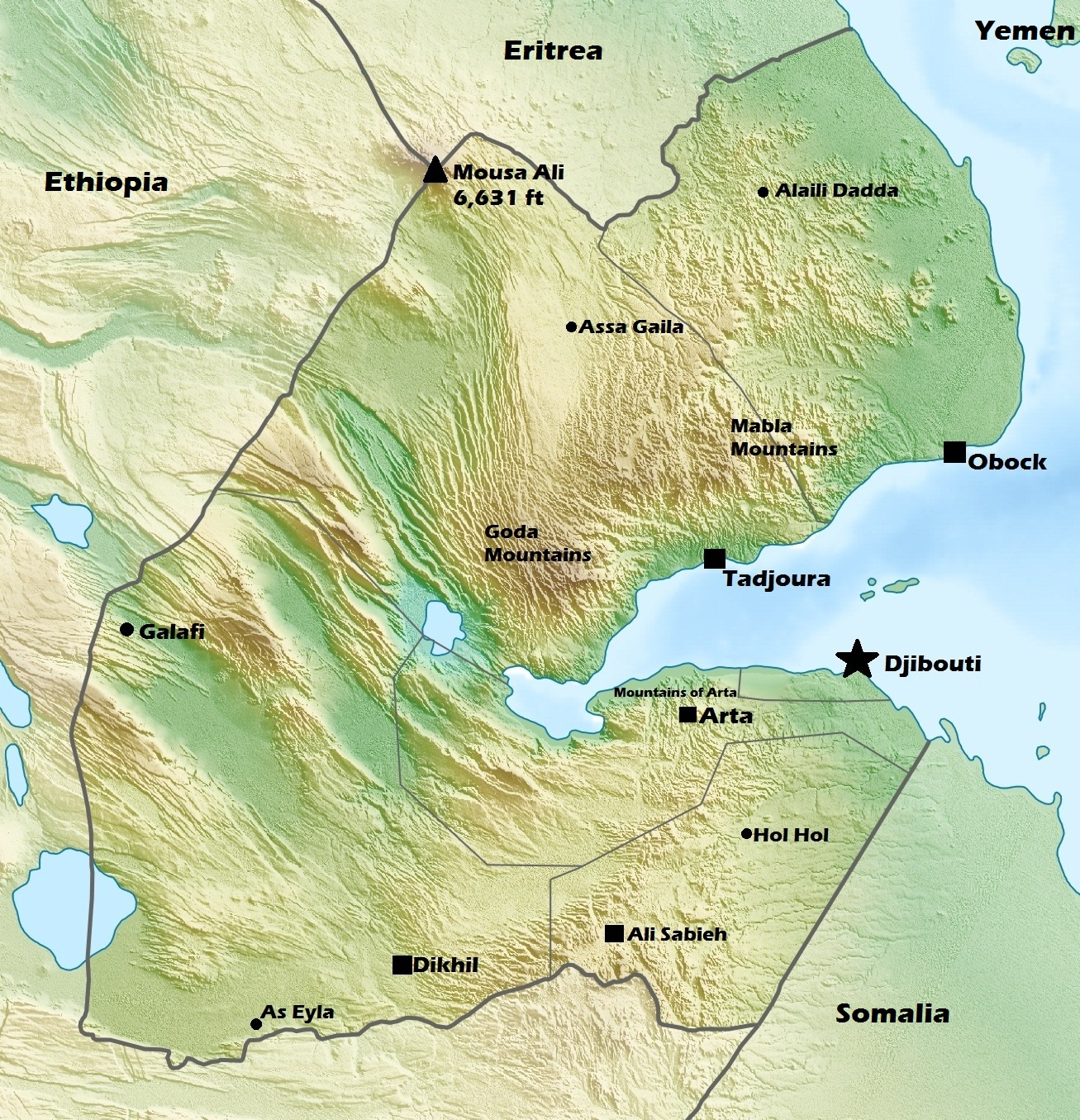 DjiboutiGeographymap Dead Sea On The World Map on the sea of azov on world map, the sea of japan on world map, negev desert on world map, great rift valley on world map, sea of galilee on world map,