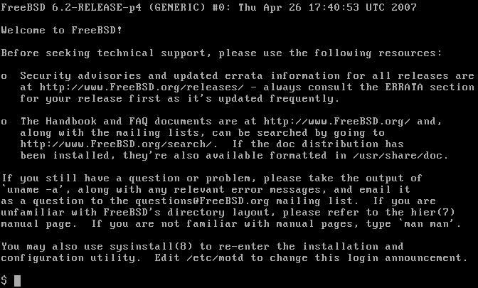 Снимок терминала FreeBSD