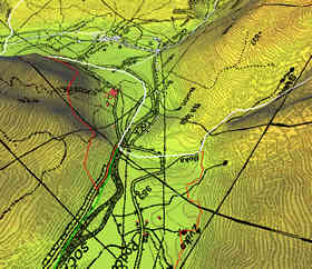 Digital elevation model, map (image), and vector data