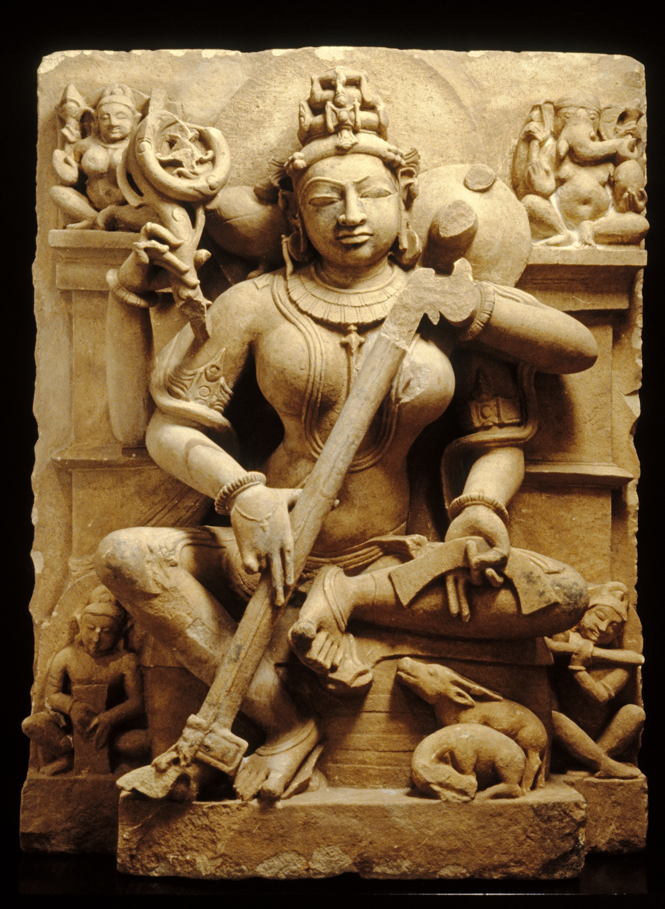 Hindu Relief Scupture of Saraswati