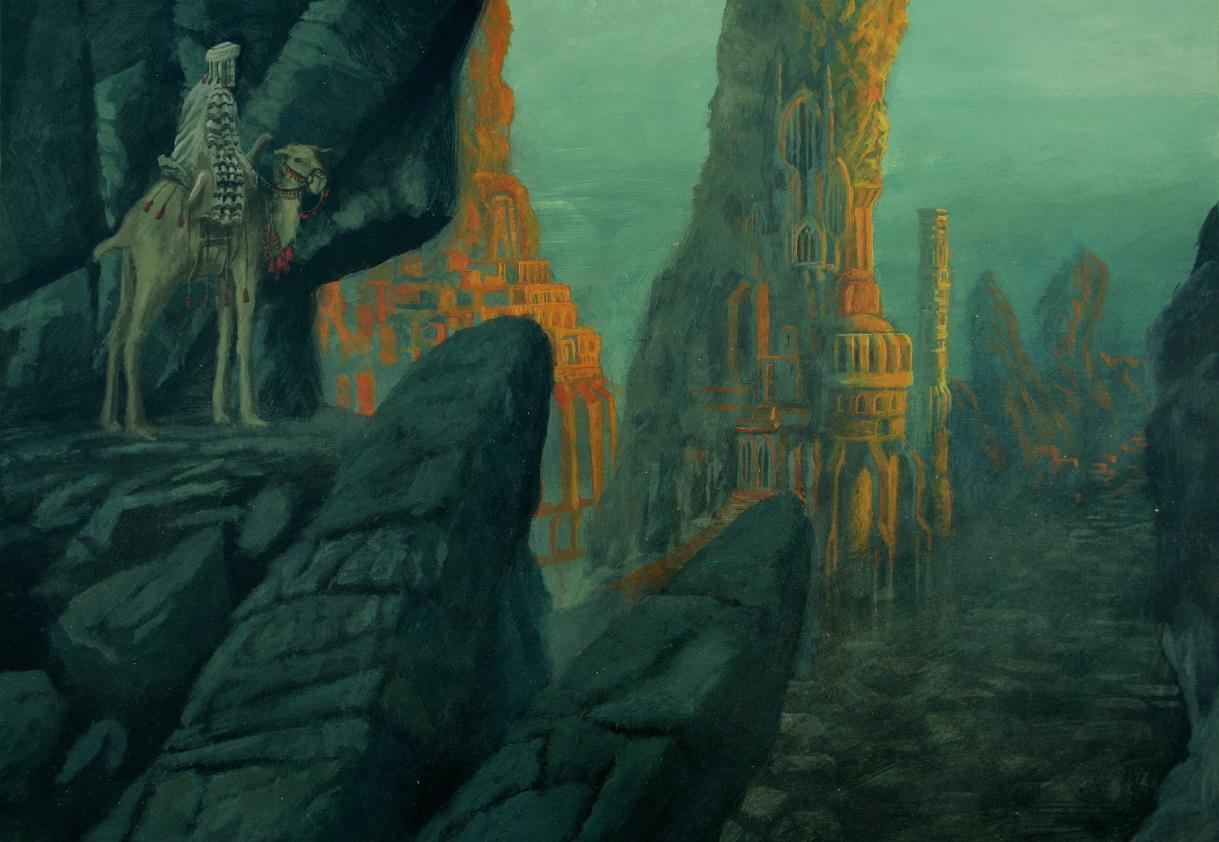 Irem, la légendaire « cité des mille piliers » visitée par Abdul al-Hazred. Illustration de Jens Heimdahl.