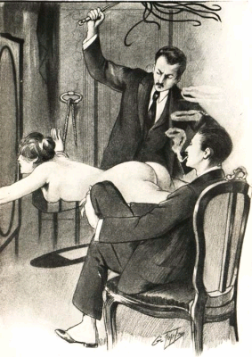 Inflicting pain upon others is a common fantasy of sex offenders, which may include spanking as illustrated in the above image. Produced by Lewis Bald in 1913. Lewis Bald - Woman Whipped 1.png