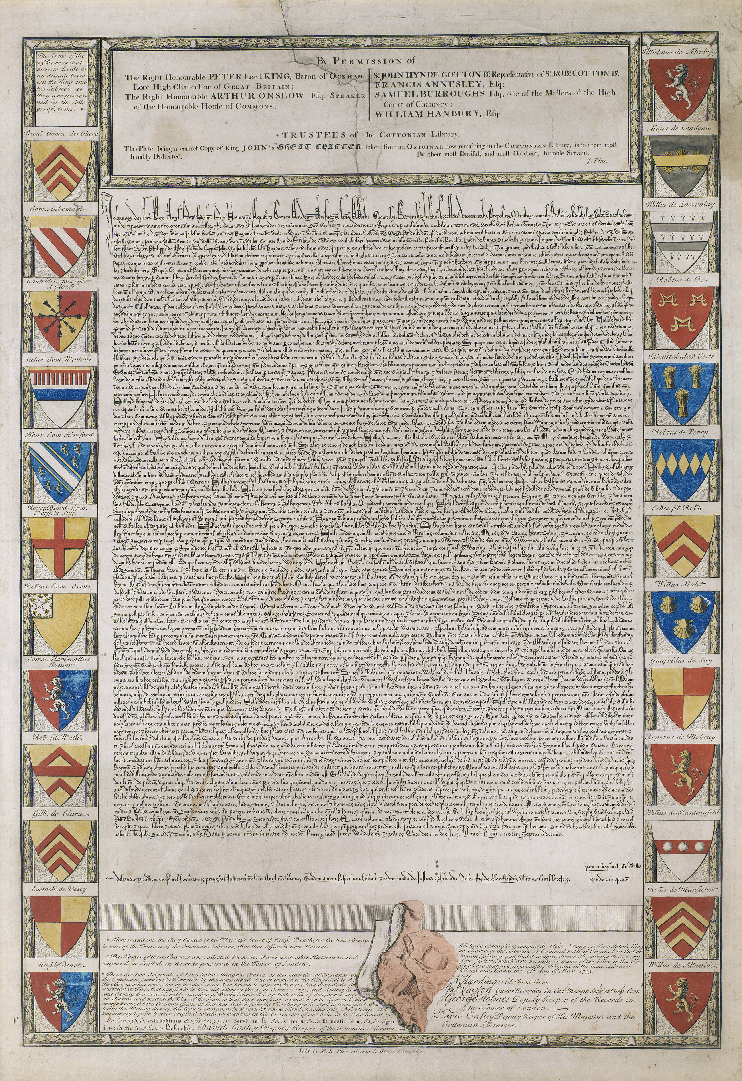 Grabado, con el texto de la Carta Magna, rodeado de los escudos de los firmantes.