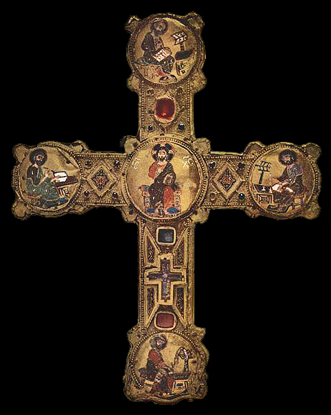 Ornate 12th century cross sculpted by Meister des Reliquienkreuzes von Consenza