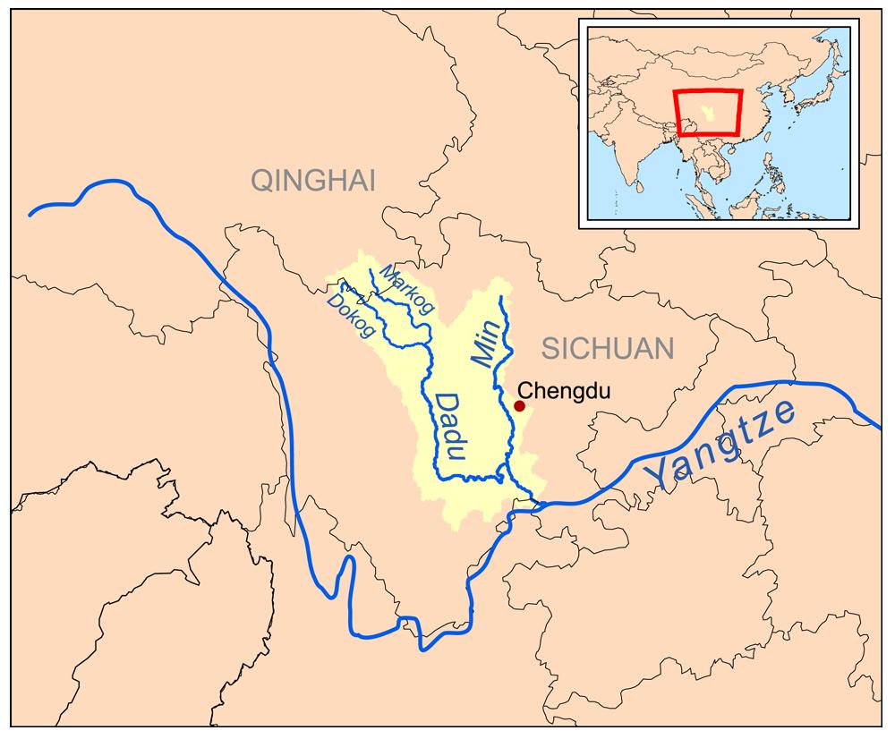on chang jiang river map