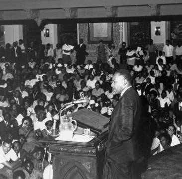 Martin Luther King Jr. lecturing at Temple University in 1965