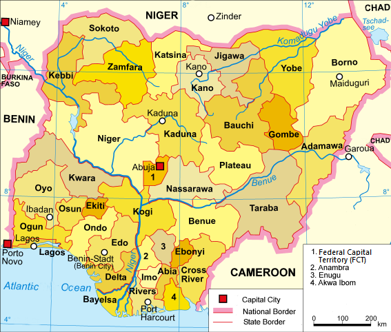 A clickable map of Nigeria