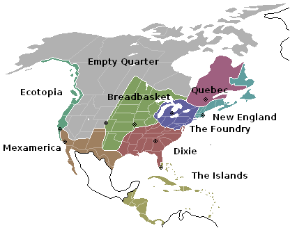 Approximate map of the Nine Nations of North America with each of their capitals