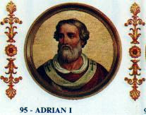 Portrait of Adrian in the Basilica of Saint Paul Outside the Walls, Rome Papa Hadrianus I.jpg