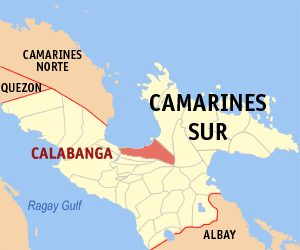 Map of Camarines Sur showing the location of Calabanga