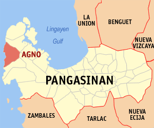Map of Pangasinan showing the location of Agno