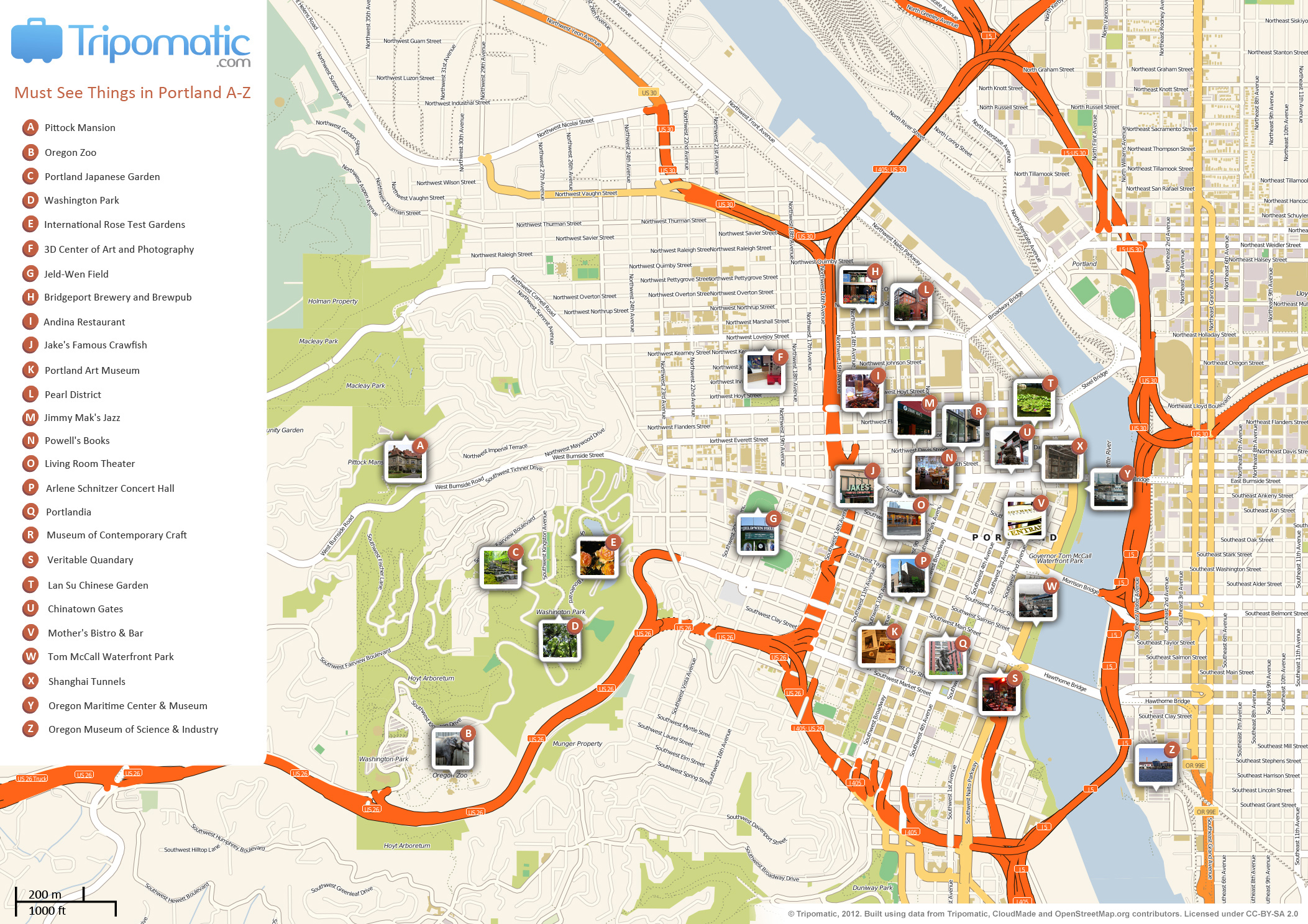 Portland Beer Tour Map