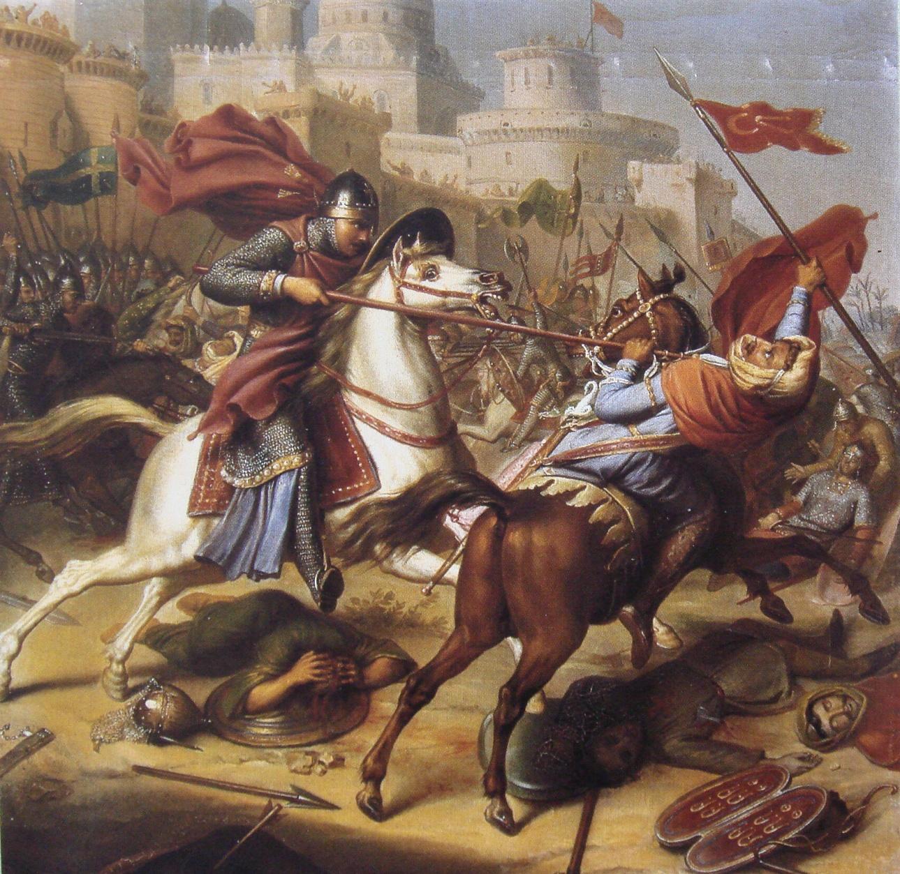 Quadro raffigurante il Duca di Normandia Roberto II durante l'assedio di Antiochia.