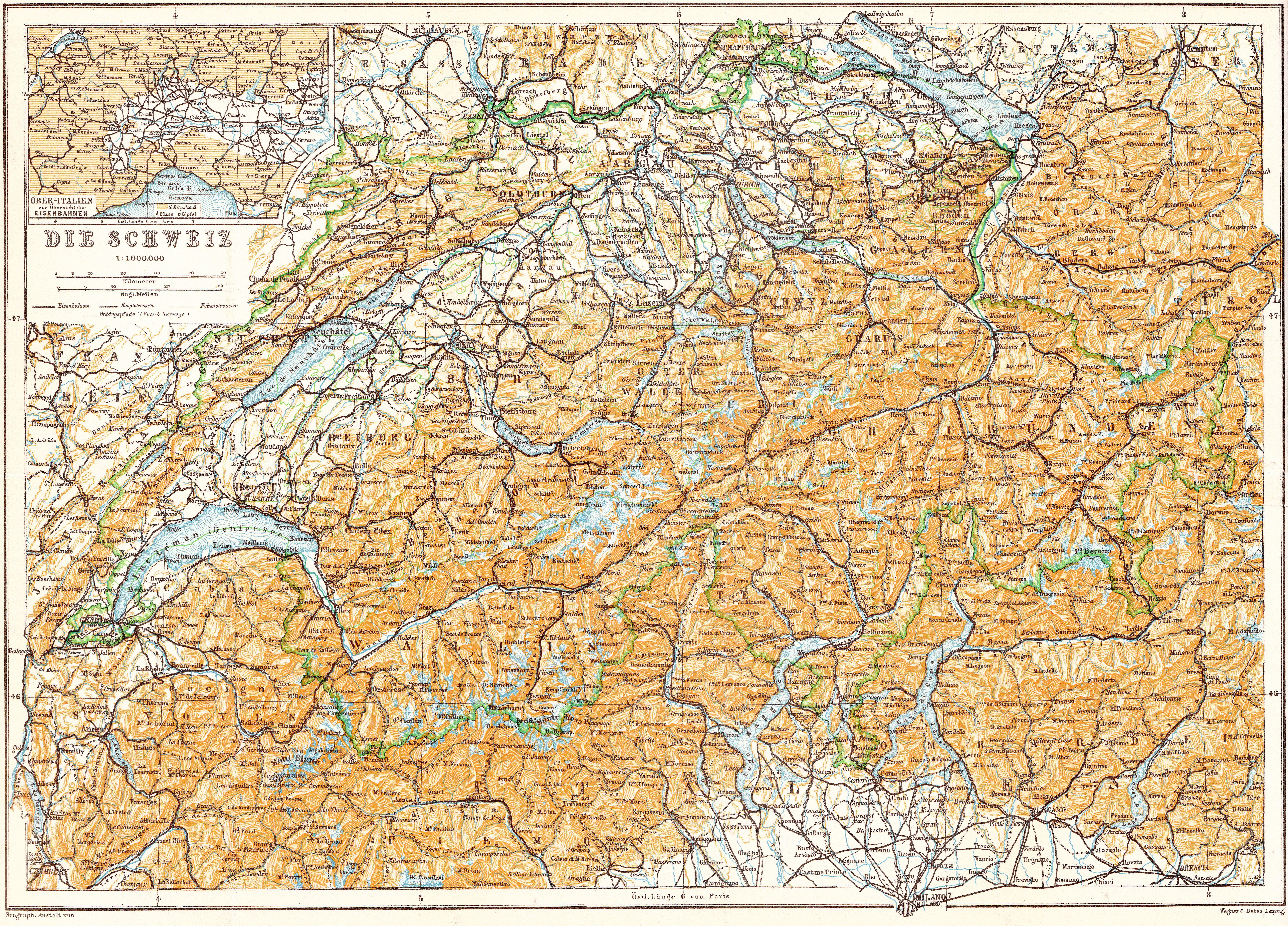 Description schweiz karte baedeker 1913