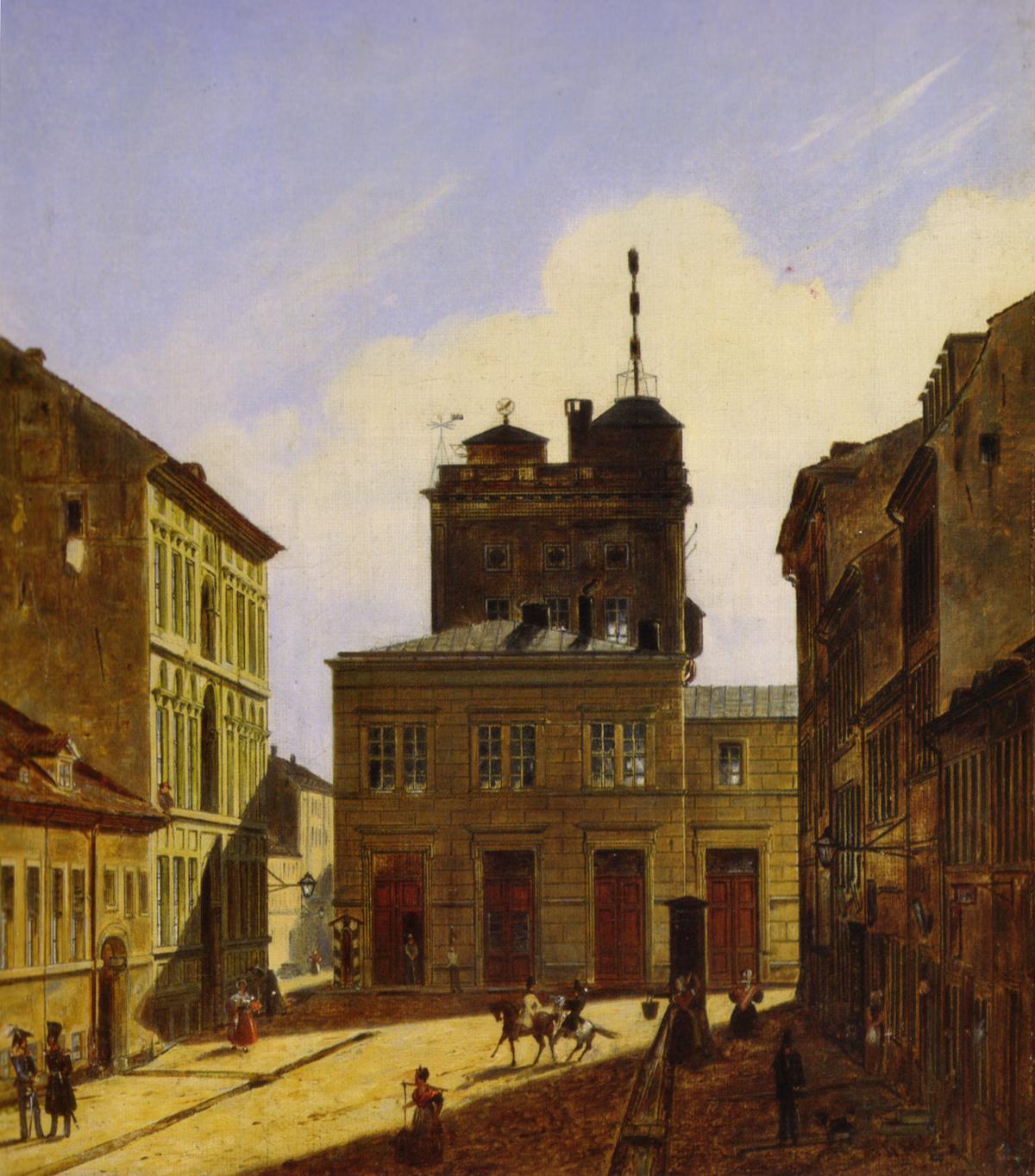 Berlin, Astronomisches Observatorium. Gemälde von Friedrich Wilhelm Klose (Ausschnitt).