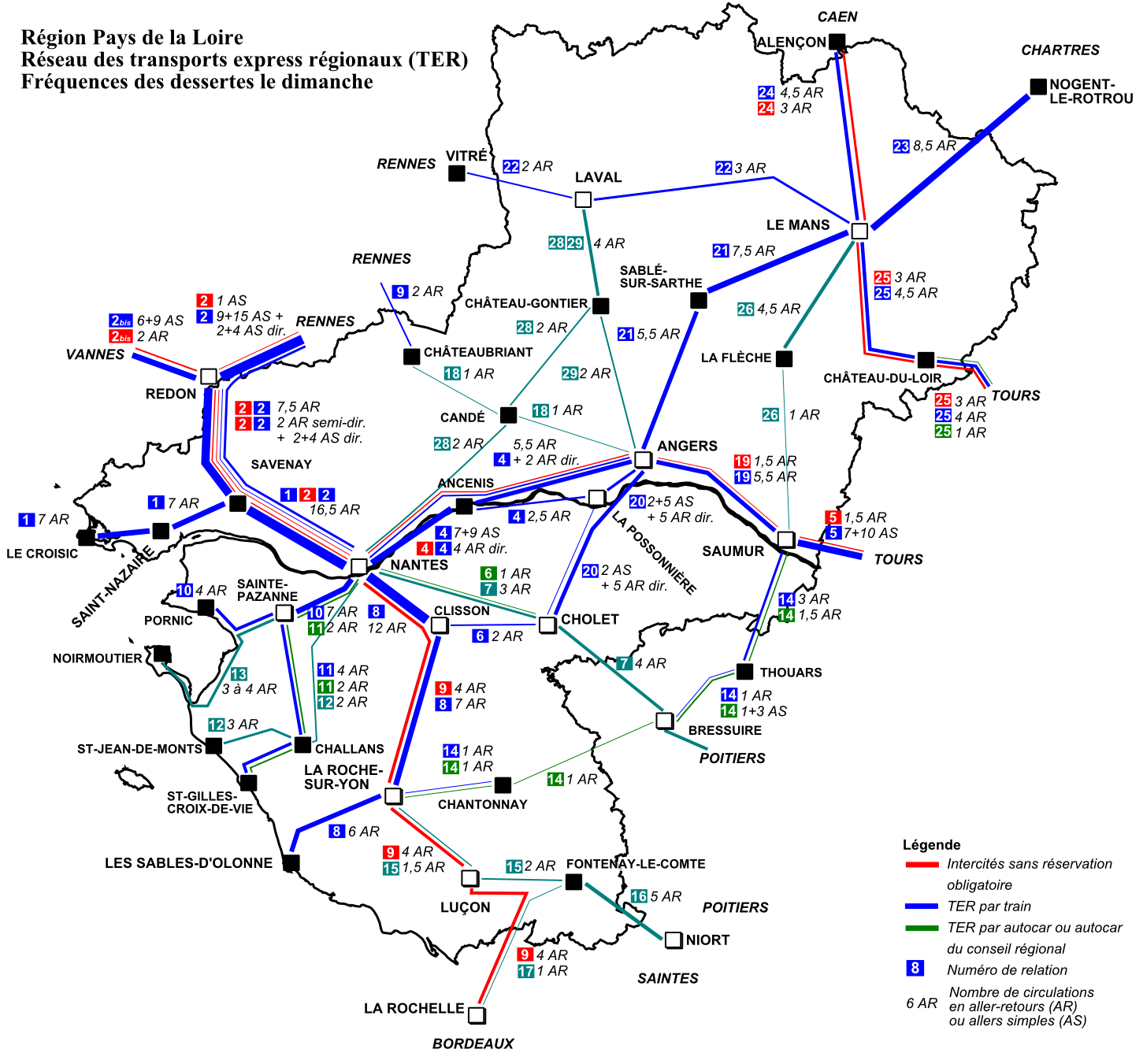 carte ter pays de la loire File:TER Pays de la Loire, fréquence le dimanche.png   Wikimedia
